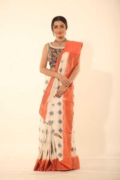 SAMBALPURI COTTON IKKAT SAREE WITH CONTRASTING TIE AND DYE WEAVING
