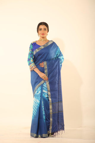 BLUE COLOUR MUGA DYED COTTON HANDLOOM