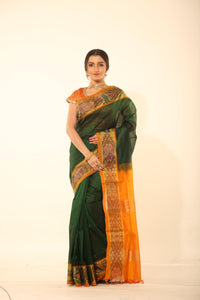 DARK GREEN COLOUR LIGHT WEIGHT SILK SAREE