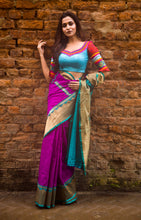 Load image into Gallery viewer, Magenta Color Base Matka Banarasi Saree