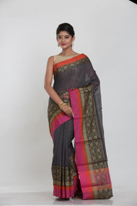 GREY COLOUR MINAKARI COTTON CHANDERI