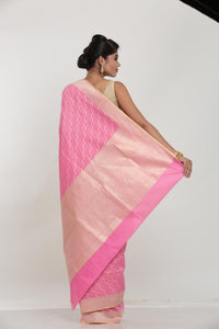PINK COLOUR COTTON CHANDERI SAREE
