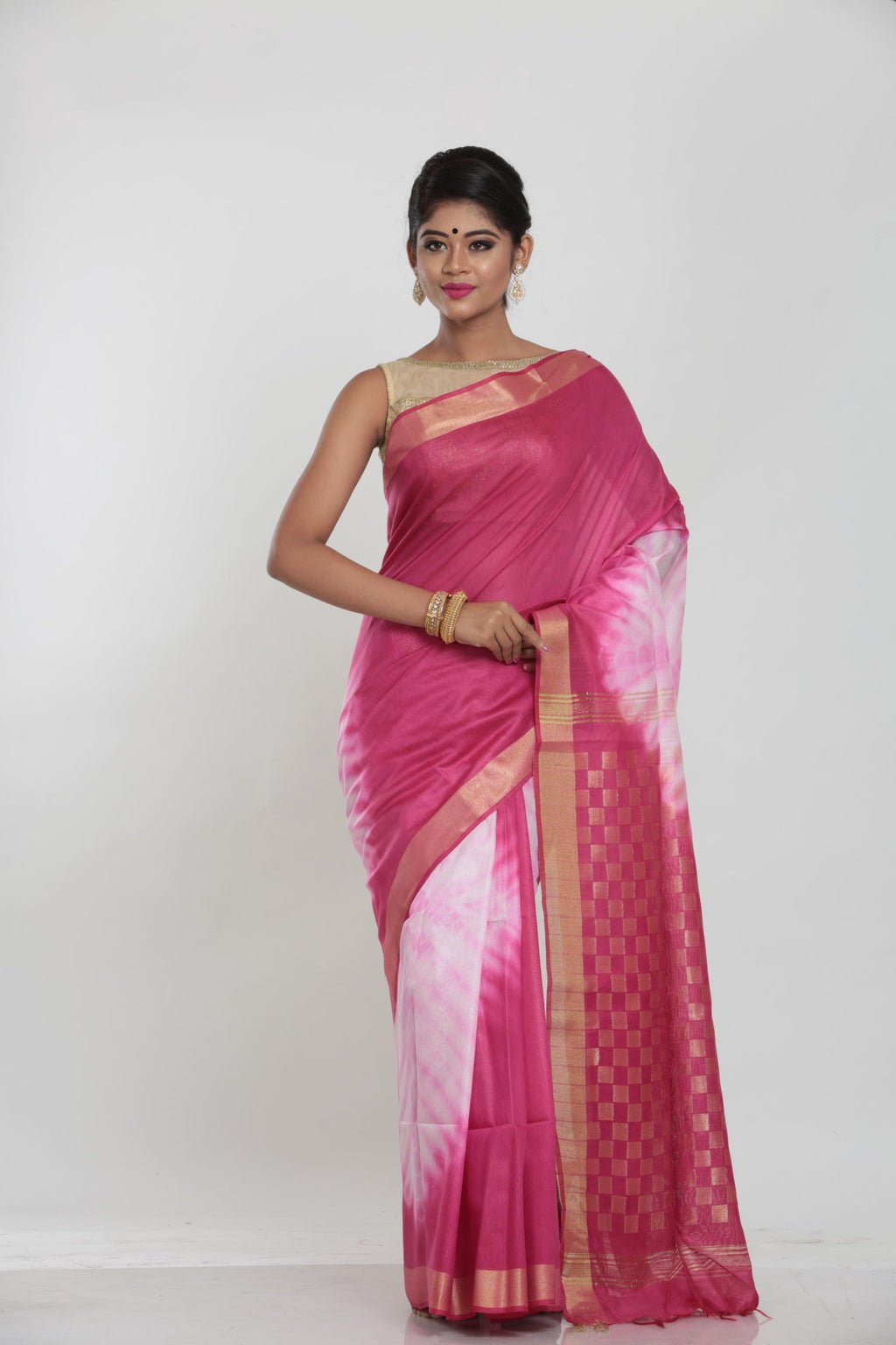 PURPLE COLOUR MUGA HANDLOOM SAREE WITH CONTRASTING TIE AND DIE EFFECT