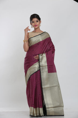 MAROON COLOUR JUTE SILK SAREE WITH ALL OVER SELF THREAD WEAVING