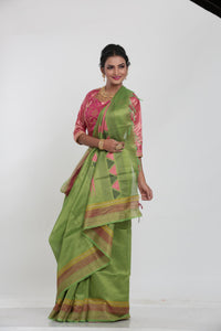 GREEN COLOUR MUGA HANDLOOM SAREE