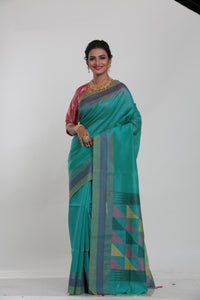 BLUE COLOUR MUGA HANDLOOM SAREE