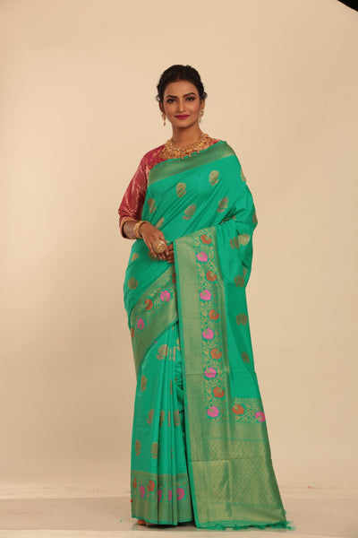 SEA GREEN COLOUR MINAKARI CHANDERI SILK SAREE