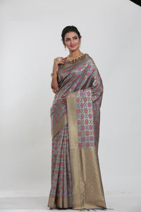 GREY COLOUR CHANDERI SILK SAREE