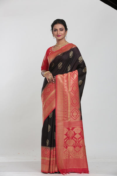 BLACK COLOUR GHICHA SILK SAREE WITH CONTRASTING COLOUR PALLU AND BORDER