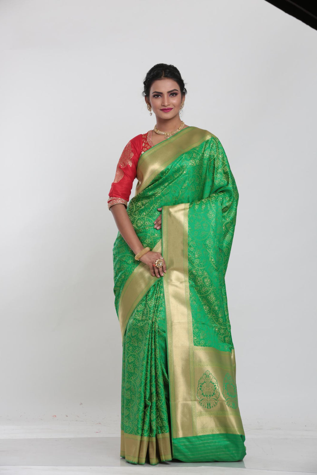 GREEN COLOUR EPICAL KATAN SILK SAREE