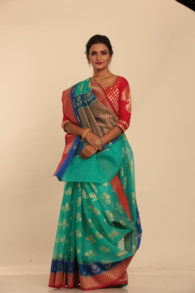 SKY COLOUR MINAKARI TISSU SILK SAREE