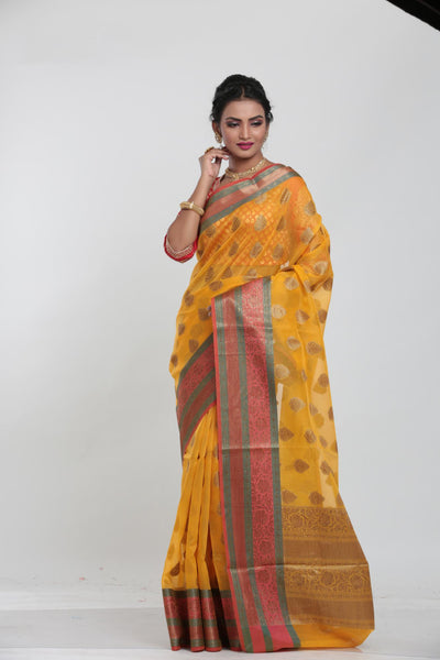 YELLOW COLOUR KOTA CHANDERI SILK SAREE