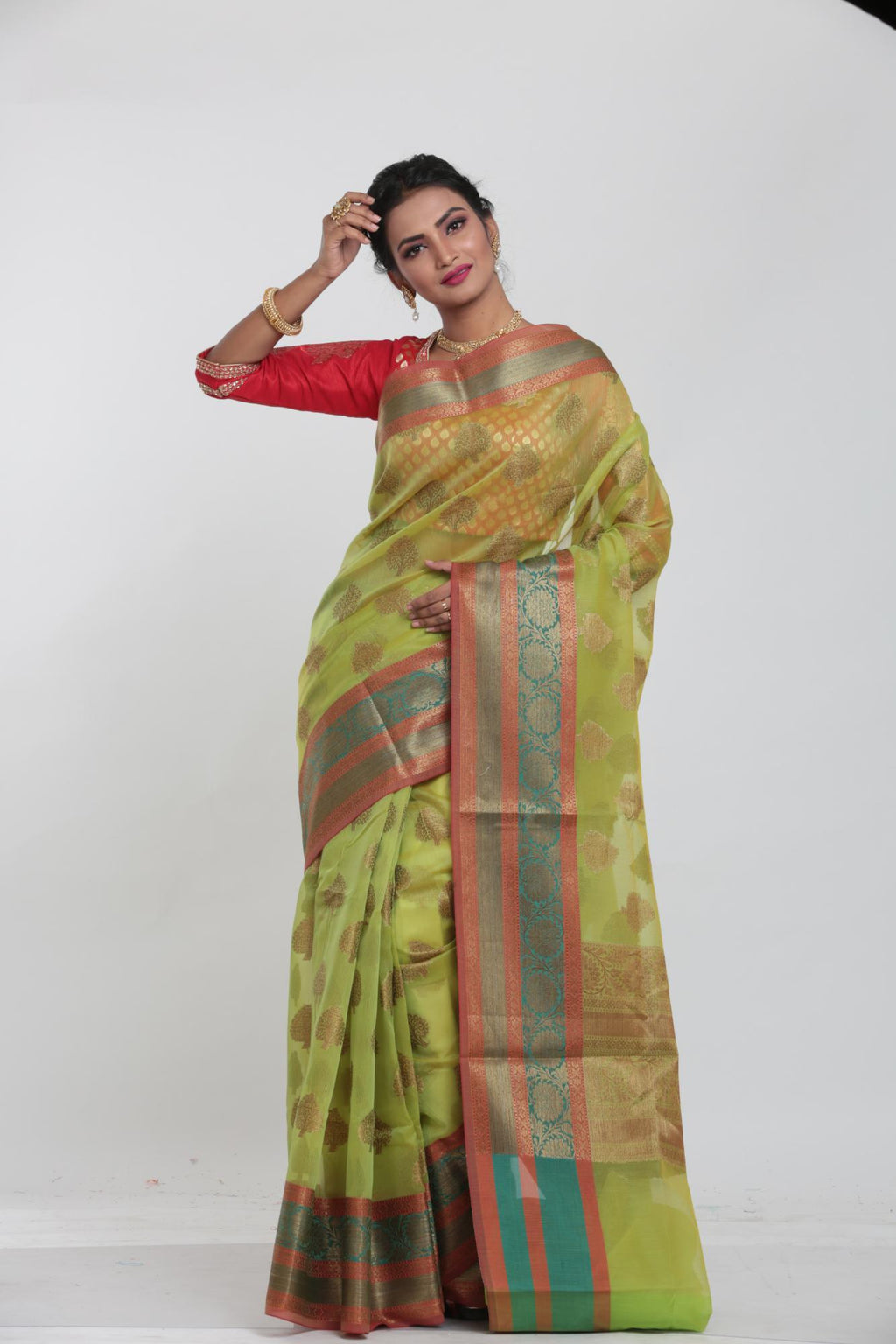 LIGHT GREEN COLOUR KOTA CHANDERI SILK SAREE