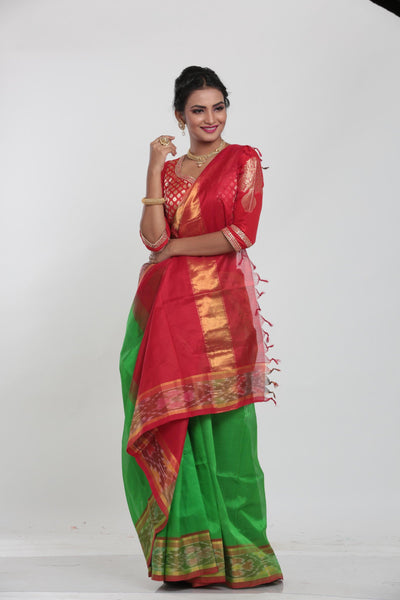 RED COLOUR LIGHT WEIGHT SILK SAREE WITH CONTRASTING RED COLOUR PALLU AND BORDER
