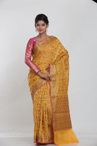 YELLOWCOLOUR MINAKARI COTTON CHANDERI  SAREE WITH ALL OVER FLORAL WEAVING