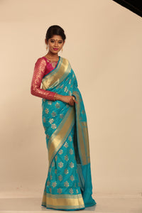 SKY COLOUR MINAKARI OPARA KATAN SILK SAREE
