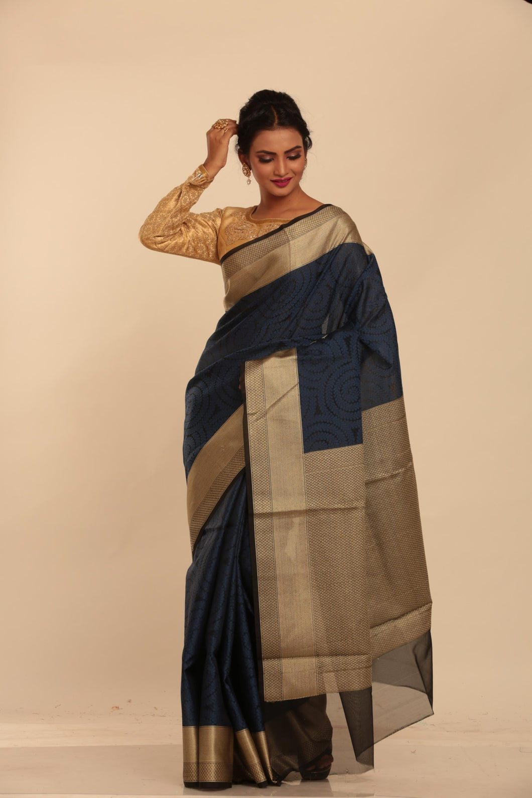 BLUE COLOUR JUTE SILK SAREE WITH ALL OVER SELF THREAD WEAVING