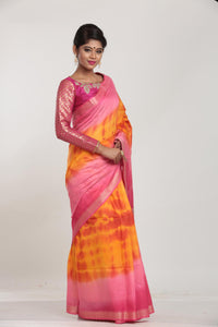 ORANGE COLOUR MUGA HANDLOOM SAREE WITH CONTRASTING TIE AND DIE EFFECT