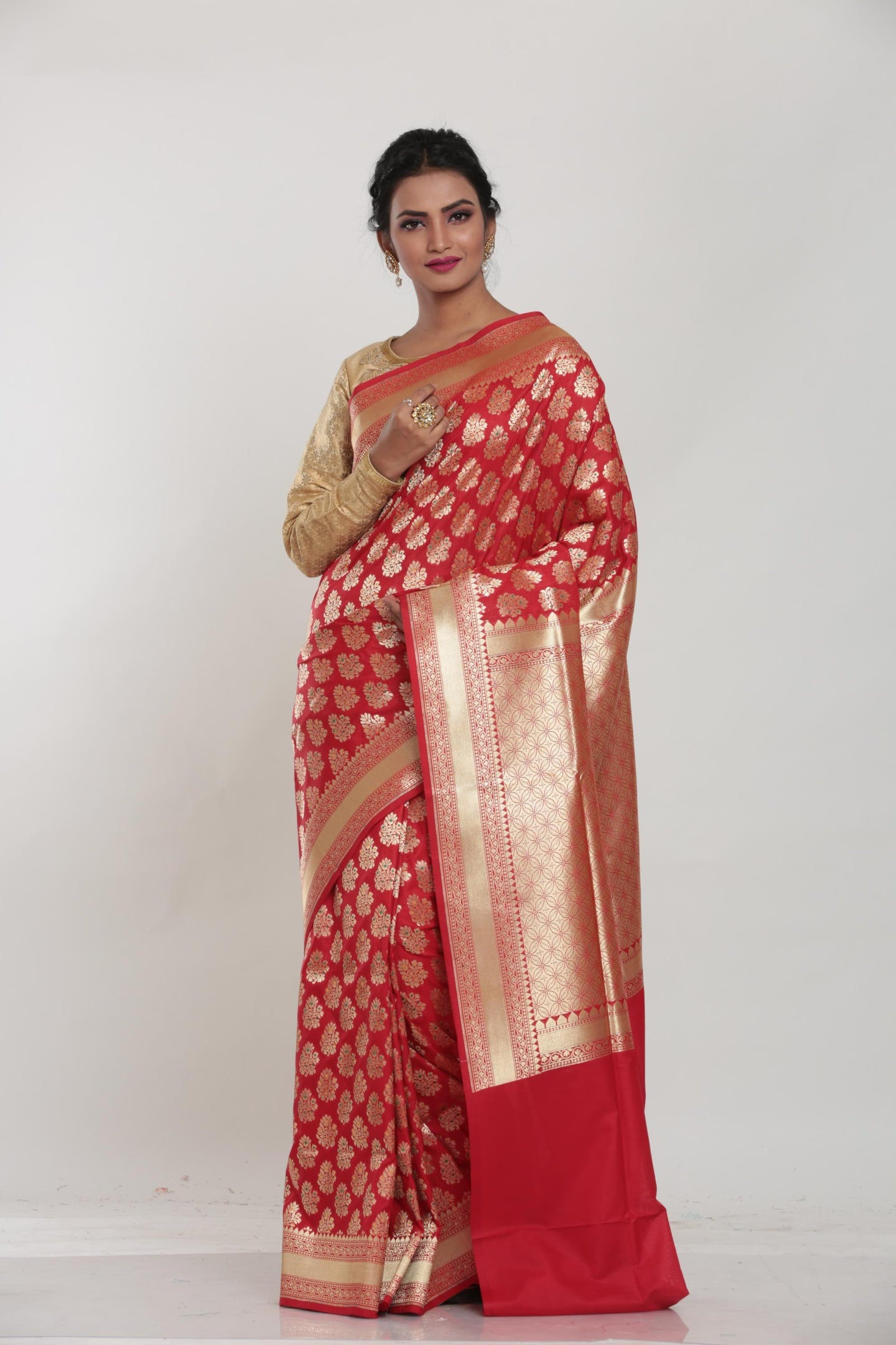 RED COLOUR MINAKARI OPARA KATAN SILK SAREE