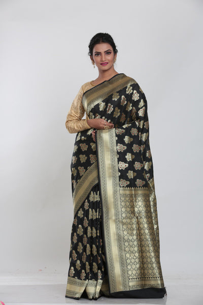 BLACK COLOUR MINAKARI OPARA KATAN SILK SAREE
