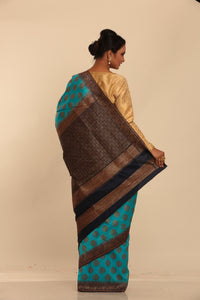 LGHT BLUE COLOUR GHICHA SILK SAREE WITH CONTRASTING COLOUR PALLU AND BORDER