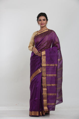 BEIGE COLOUR LIGHT WEIGHT SILK SAREE WITH CONTRASTING ORANGE COLOUR PALLU AND BORDER