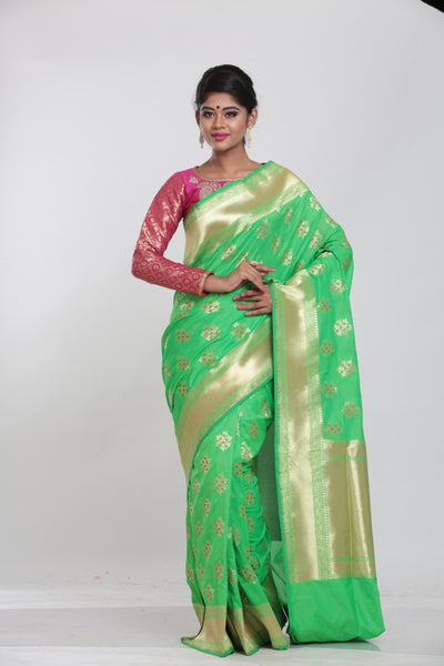 LIGHT GREEN COLOUR MINAKARI OPARA KATAN SILK SAREE