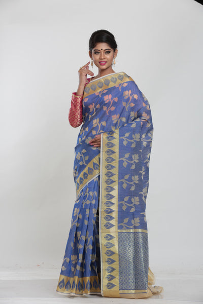 BLUE COLOUR JUTE DHAKAI SAREE