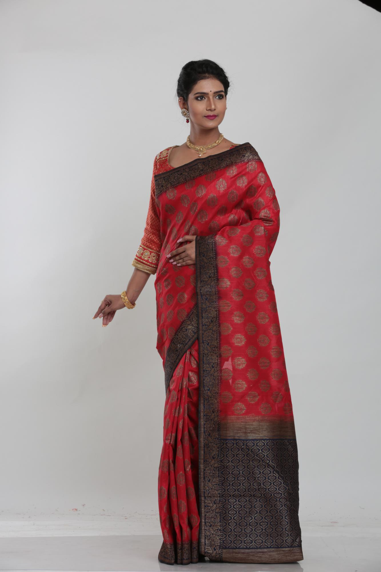 RED COLOUR GHICHA SILK SAREE WITH CONTRASTING COLOUR PALLU AND BORDER