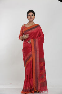 RED COLOUR MUGA SILK HANDLOOM SAREE