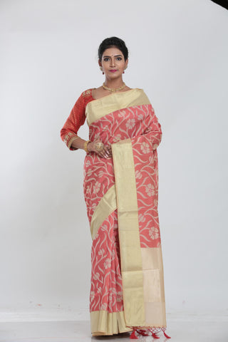 PINK COLOUR JUTE DHAKAI SAREE