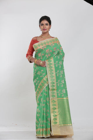 GREEN COLOUR JUTE DHAKAI SAREE