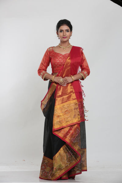 BLACK COLOUR LIGHT WEIGHT SILK SAREE