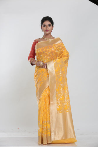 YELLOW COLOUR BEAUTIFUL JUTE SILK SAREE WITH ALL OVER GOLDEN HIGHLIGHT