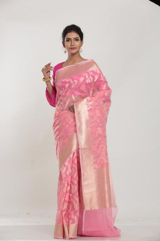 PINK COLOUR BEAUTIFUL JUTE SILK SAREE WITH ALL OVER GOLDEN HIGHLIGHT