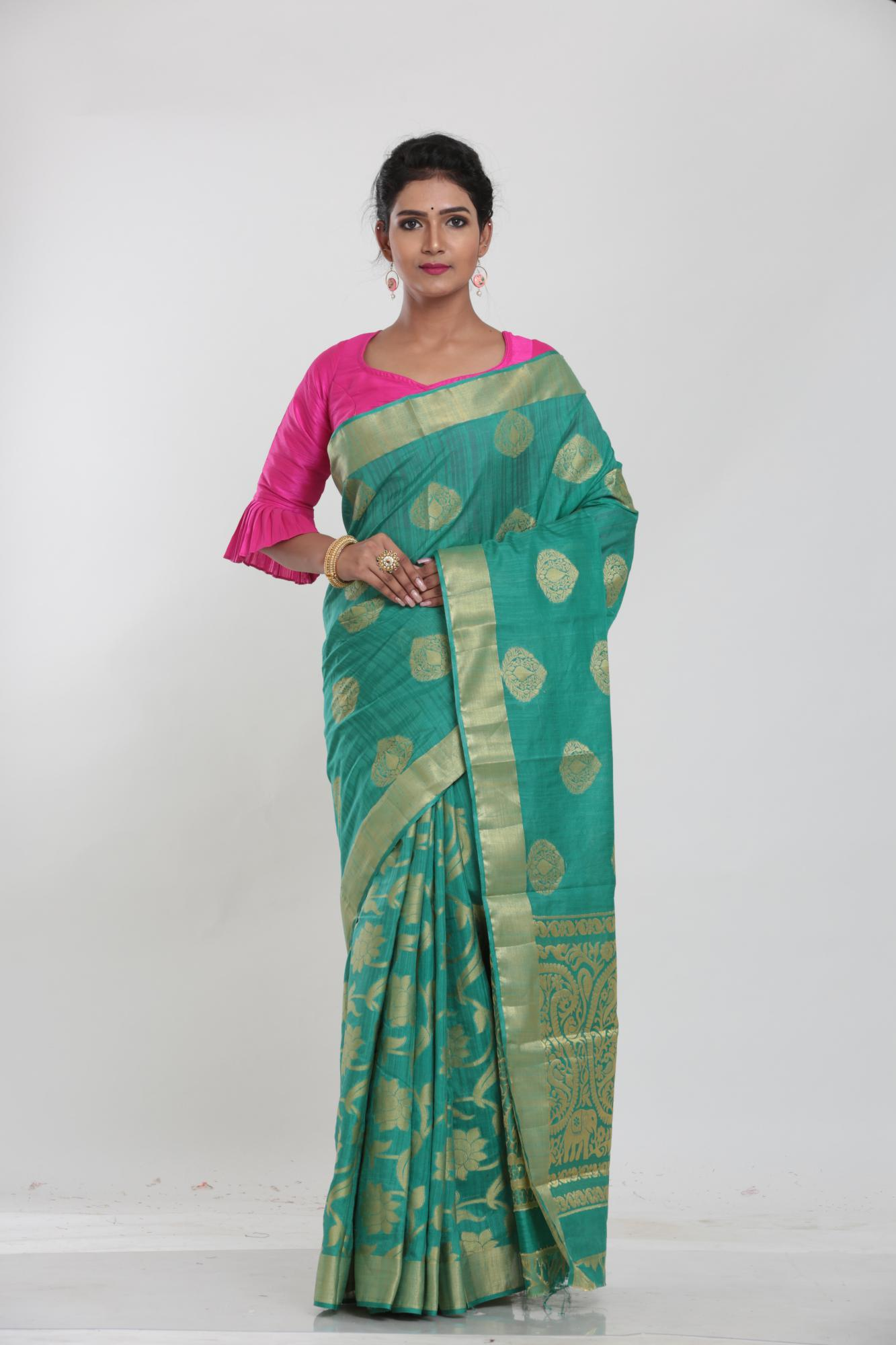 SEA GREEN COLOUR GHICHA SILK SAREE WITH CONTRASTING COLOUR PALLU AND BORDER