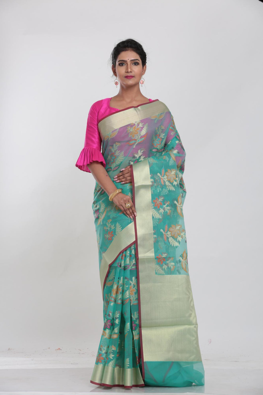 BLUR COLOUR ALL OVER MINAKARI TISSUE SILK SAREE