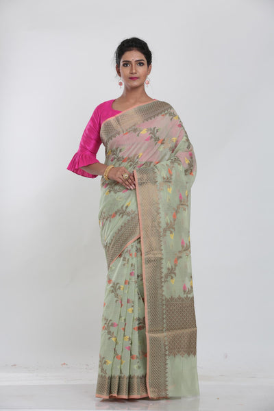MINAKARI GREEN COLOUR COTTON CHANDERI  SAREE WITH ALL OVER FLORAL WEAVING