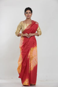 YELLOW COLOUR MUGA HANDLOOM SAREE WITH CONTRASTING TIE AND DIE EFFECT