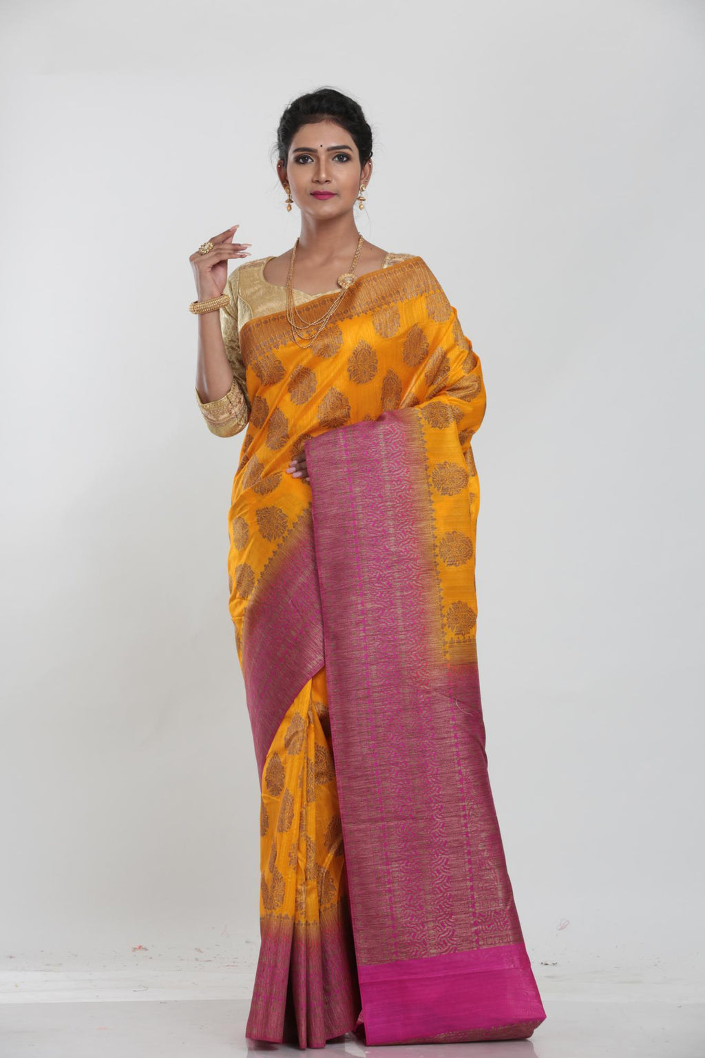 YELLOW COLOUR GHICHA SILK SAREE WITH CONTRASTING COLOUR PALLU AND BORDER