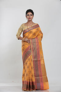 ORANGE COLOUR GHICHA SILK SAREE WITH CONTRASTING COLOUR PALLU AND BORDER