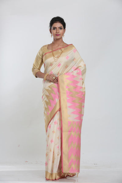 WHITE COLOUR BEAUTIFUL JUTE SILK SAREE WITH CONTRAST COLOUR HIGHLIGHT