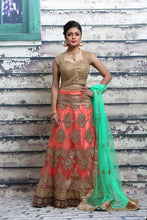 Load image into Gallery viewer, UNSTITCH PEACH COLOUR LEHENGA WITH CONTRASTING ZARI EMBROIDERY