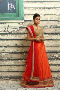 UNSTITCH ORANGE COLOUR SILK LEHENGA WITH HIGHLIGHTED ZARI BORDER