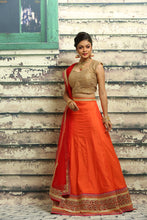Load image into Gallery viewer, UNSTITCH ORANGE COLOUR SILK LEHENGA WITH HIGHLIGHTED ZARI BORDER