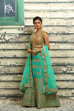 Load image into Gallery viewer, UNSTITCH SEA GREEN COLOUR SILK LAHENGA WITH ALL OVER ZARI EMBROIDERY