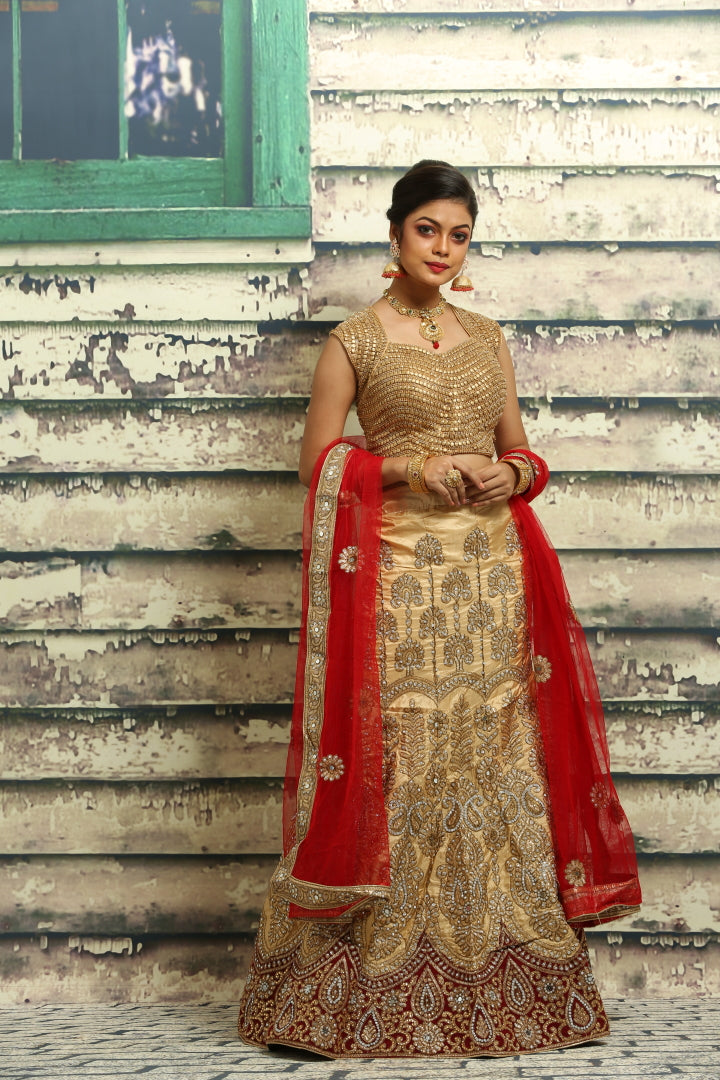 UNSTITCH BEIGE COLOUR SILK LEHENGA WITH CONTRASTING RED VELVET AND ALL OVER ZARI HIGHLIGHT