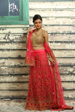 Load image into Gallery viewer, UNSTITCH BRIGHT PINK COLOUR NET LEHENGA WITH ALL OVER BEAUTIFUL ZARI-THREAD EMBROIDERY