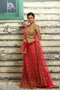 UNSTITCH BRIGHT PINK COLOUR NET LEHENGA WITH ALL OVER BEAUTIFUL ZARI-THREAD EMBROIDERY
