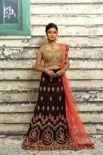 Load image into Gallery viewer, DARK BROWN COLOUR VELVET LEHENGA WITH ALL OVER ZARI-THREAD EMBROIDERY
